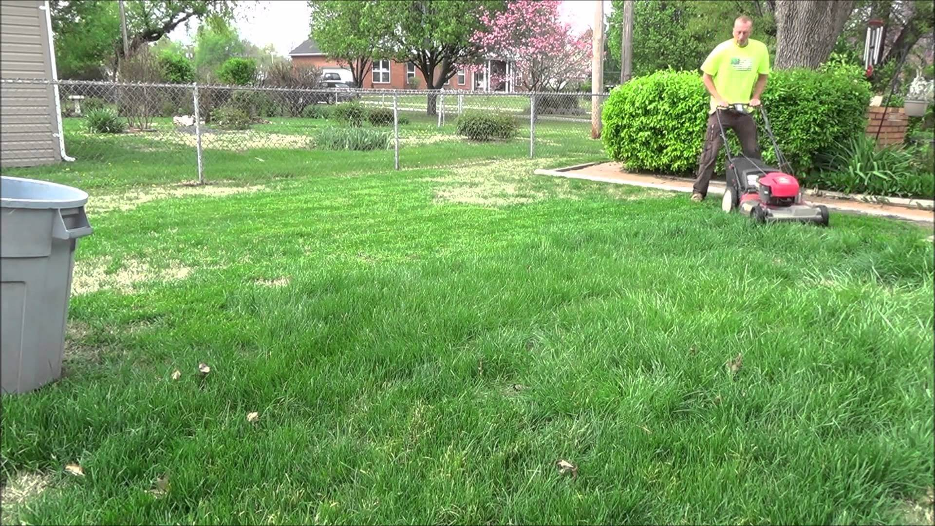 man mowing his lawn