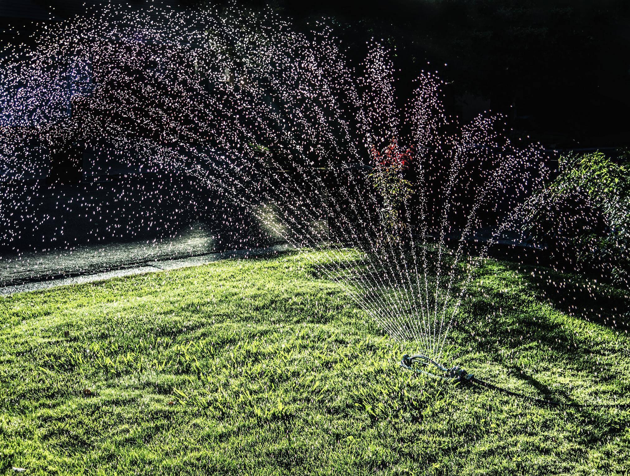 Lawn being sprinkled